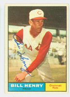 Bill Henry AUTOGRAPH d.14 1961 Topps #66 Reds CARD IS CLEAN EX PLUS