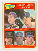 Dean Chance AUTOGRAPH d.15 1965 Topps AL Pitching Leaders #9 Angels CARD IS F/G; CRN WEAR, AUTO CLEAN  [SKU:ChanD1684_T65BBPLAP]