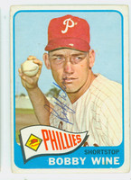 Bobby Wine AUTOGRAPH 1965 Topps #36 Phillies CARD IS F/G; CREASE  [SKU:WineB1414_T65BBAP]