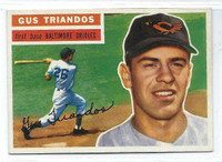 1956 Topps Baseball 80 Gus Triandos  [SKU:Y56_T56BB_080aw6exmrs]  Baltimore Orioles Excellent to Mint White Back