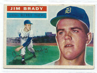 1956 Topps Baseball 126 Jim Brady  [SKU:Y56_T56BB_126ag5exprs]  Detroit Tigers Excellent to Excellent Plus Grey Back