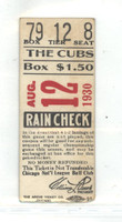 1930 Chicago Cubs Ticket Stub vs Dodgers Sheriff Blake Win #78 - Aug 12, 1930