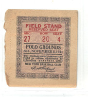 1921 New York Brickley Giants (Presumably) Scarce Ticket Stub - Giants played 1 GM at Polo Grounds in 1921