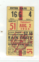 1955 New York Yankees Ticket Stub vs Indians NY 2 Cle 1 WP Byrne Collins 2 HR - Aug 2, 1955