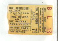1968 Paul Revere and the Raiders Concert Ticket Stub Apr 7, 1968