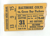 1953 Baltimore Colts Ticket Stub vs Packers Howton 2 TD Rec GB 35 Bal 24 - Oct 31, 1953