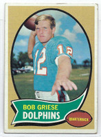 1970 Topps Football 10 Bob Griese Miami Dolphins Good to Very Good