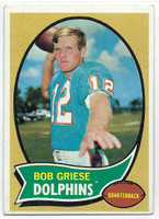 1970 Topps Football 10 Bob Griese Miami Dolphins Excellent