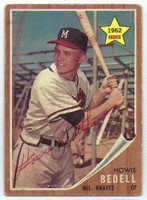 Howie Bedell AUTOGRAPH 1962 Topps #76 Braves CARD IS VG; AUTO CLEAN