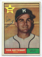Don Nottebart AUTOGRAPH d.07 1961 Topps #29 Braves CARD IS VG/EX; AUTO CLEAN