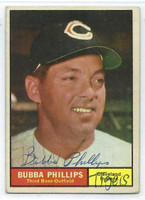 Bubba Phillips AUTOGRAPH d.93 1961 Topps #101 Indians CARD IS G/VG; AUTO CLEAN