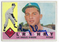 Larry Sherry AUTOGRAPH d.06 1960 Topps #105 Dodgers CARD IS POOR; VERT CREASE  [SKU:SherL1480_T60BBAP]