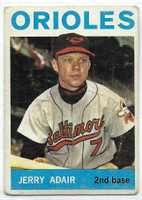 1964 Topps Baseball 22 Jerry Adair  [SKU:Y64_T64BB_022a_2gvgrs]  Baltimore Orioles Good to Very Good