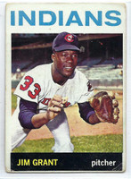 1964 Topps Baseball 133 Jim Grant  [SKU:Y64_T64BB_133a_1fprs]  Cleveland Indians Fair to Poor