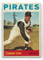 1964 Topps Baseball 224 Tommie Sisk  [SKU:Y64_T64BB_224a_1frgrs]  Pittsburgh Pirates Fair to Good