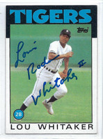Lou Whitaker AUTOGRAPH 1986 Topps #20 Tigers   [SKU:WhitL9233_T86BBrs]