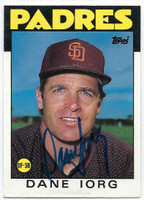 Dane Iorg AUTOGRAPH 1986 Topps Traded #49T Padres   [SKU:IorgD6531_T86BBTRrs]