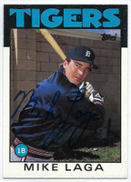 Mike Laga AUTOGRAPH 1986 Topps Traded #59T Tigers   [SKU:LagaM9383_T86BBTRrs]