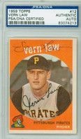 Vern Law AUTOGRAPH 1959 Topps #12 Pirates PSA/DNA 