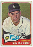 Dick McAuliffe AUTOGRAPH d.16 1965 Topps #53 Tigers CARD IS F/P; CREASES  [SKU:McAuD1854_T65BBAP]