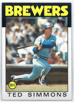 1986 Topps Baseball 237 Ted Simmons Milwaukee Brewers Near-Mint to Mint