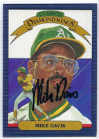 Mike Davis AUTOGRAPH 1986 Donruss Diamond King #14 Athletics 