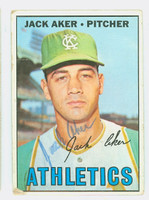 Jack Aker AUTOGRAPH 1967 Topps #110 Athletics CARD IS F/P