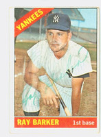 Ray Barker AUTOGRAPH 1966 Topps #323 Yankees CARD IS F/P