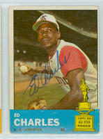 Ed Charles AUTOGRAPH d.18 1963 Topps #67 Athletics   [SKU:CharE1860_T63BBpl]