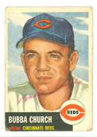 Bubba Church AUTOGRAPH d.01 1953 Topps #47 Reds 