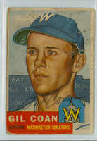 Gil Coan AUTOGRAPH d.20 1953 Topps #133 Senators CARD IS POOR