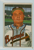 Walker Cooper AUTOGRAPH d.91 1952 Bowman #208 Braves  CARD IS CLEAN VG/EX