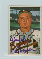 Walker Cooper AUTOGRAPH d.91 1952 Bowman #208 Braves  CARD IS F/P; CREASE
