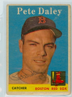 Pete Daley AUTOGRAPH 1958 Topps #73 Red Sox  CARD IS F/G; CREASES