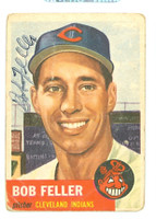 Bob Feller AUTOGRAPH d.10 1953 Topps #54 Indians POOR w/BACK DAMAGE