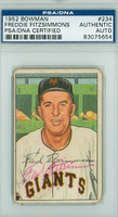 Fred Fitzsimmons AUTOGRAPH d.79 1952 Bowman #234 Giants HIGH NUMBER PSA/DNA CARD IS F/P; CREASES, AUTO CLEAN