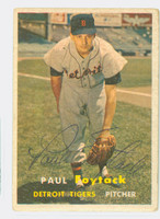 Paul Foytack AUTOGRAPH 1957 Topps #77 Tigers CARD IS F/G; AUTO CLEAN  [SKU:FoytP555_T57BB]