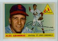 Alex Grammas AUTOGRAPH d.19 1955 Topps #21 Cardinals CARD IS VG/EX; CLEAN