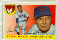 Stan Hack AUTOGRAPH d.79 1955 Topps #6 Cubs  CARD IS VG