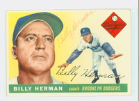 Billy Herman AUTOGRAPH d.92 1955 Topps #19 Dodgers  Light; red ink