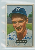Sid Hudson AUTOGRAPH d.08 1951 Bowman #169 Senators CARD IS CLEAN VG/EX