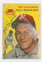 Ted Kazanski AUTOGRAPH 1954 Topps #78 Phillies  CARD IS POOR