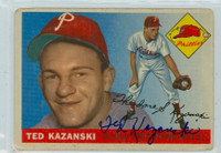 Ted Kazanski AUTOGRAPH 1955 Topps #46 Phillies  CARD IS F/P