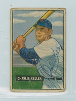Charlie Keller AUTOGRAPH d.90 1951 Bowman Tigers  CARD IS F/P, NO CREASES