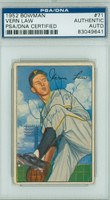 Vern Law AUTOGRAPH 1952 Bowman #71 Pirates PSA/DNA PAPER LOSS ON REV; o/w CARD IS VGEX; AUTO CLEAN  [SKU:LawV302_BW52BBpa]