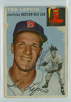 Ted Lepcio AUTOGRAPH 1954 Topps #66 Red Sox POOR Back Damage 