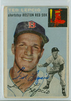 Ted Lepcio AUTOGRAPH 1954 Topps TOUGH SERIES #66 Red Sox  CARD IS POOR