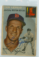 Ted Lepcio AUTOGRAPH 1954 Topps TOUGH SERIES #66 Red Sox  STAIN