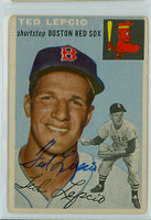 Ted Lepcio AUTOGRAPH 1954 Topps TOUGH SERIES #66 Red Sox  