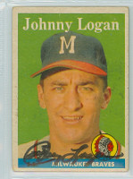 Johnny Logan AUTOGRAPH d.13 1958 Topps #110 Braves  CARD IS F/G: LG CREASE